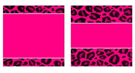 핑크 & 블랙 레오파드 용지 설정 스톡 콘텐츠