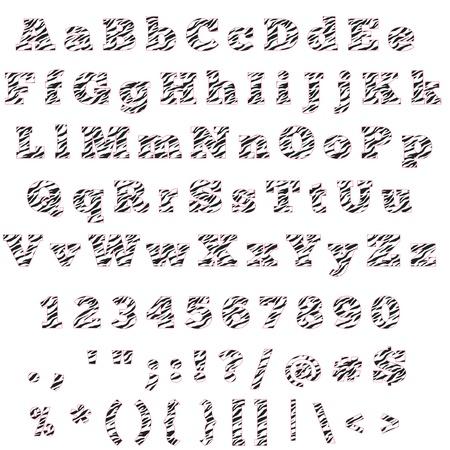 Zebra & Hot Pink Alfabet Letters, Cijfers & Symbolen Stockfoto