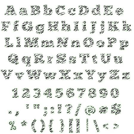 Zebra & Lime Alphabet Letters, Numbers & Symbols