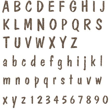 Leopard Print Cartas del alfabeto y n�meros de Foto de archivo - 12767760