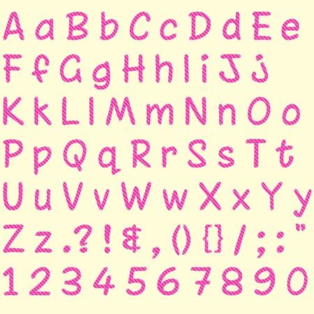 Pink Glitter Stripped Alphabet Set
