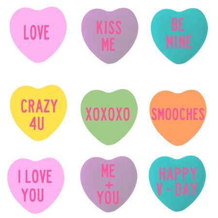 Love Conversation Heart Shapes Stock Photo