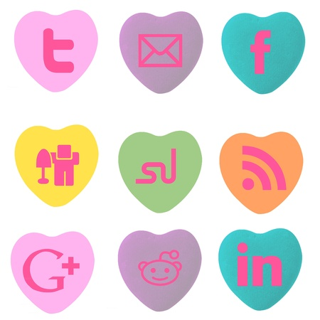 Social Stamp Conversation Heart Stamps Stok Fotoğraf