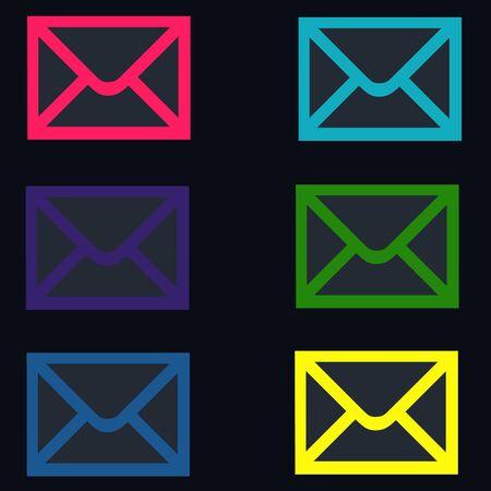 stumble: Black Colorful Email - Envelope Icons Stock Photo