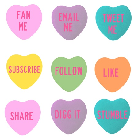 Social Follow Conversation Hearts Stock Photo