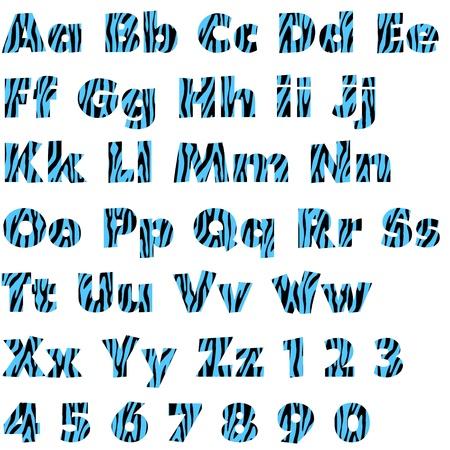 Blue & Black Zebra Alphabet Set