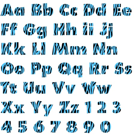 Blue & Black Zebra Alphabet Set