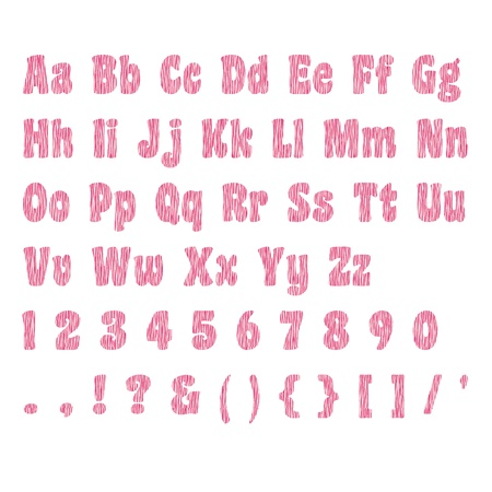 Two-Tone Pink Zebra Alphabet Set Stock Photo