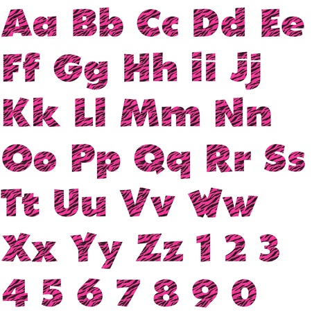Hot Pink Zebra Alphabet Set