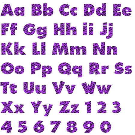 numbers: Purple Zebra Alphabet Set Stock Photo
