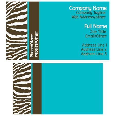 Brown & Blue Zebra visitekaartjes Stockfoto