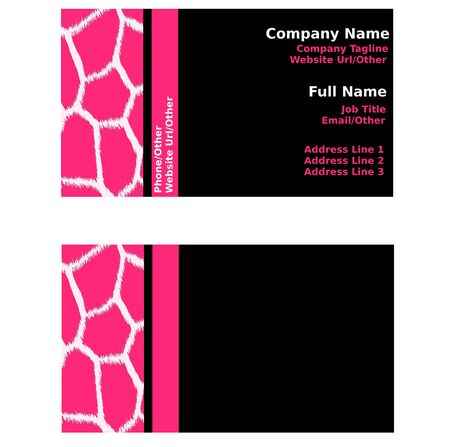 Pink & Black Giraffe Business Cards Stock Photo - 12767809