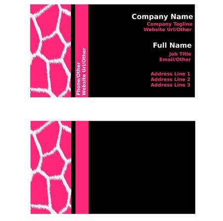 black: Pink & Black Giraffe Business Cards