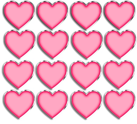 chrome: Pink & Chrome Heart Shapes Template