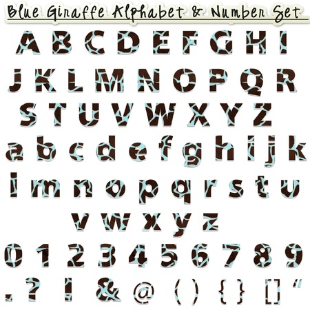 Blue Giraffe Alphabet   Number Set  Stock Photo