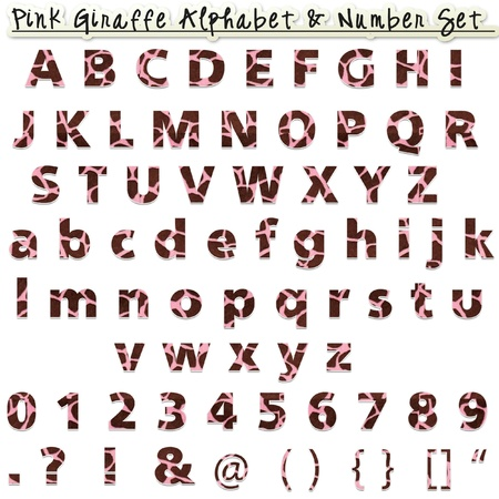 Pink Giraffe Alphabet   Number Set