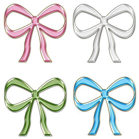 Colorful Glass Bows Set 3