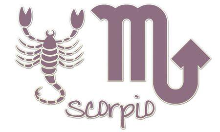 Scorpio Zodiac Signs - Purple Sticker Style Stock Photo