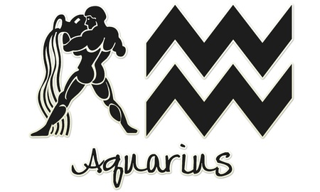 Aquarius Zodiac Signs - Black Sticker Style Banco de Imagens
