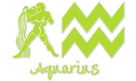 Aquarius Zodiac Signs - Lime Sticker Style