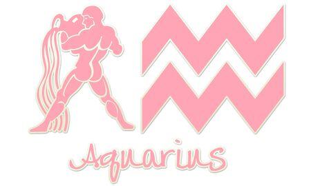 Aquarius Zodiac Signs - Pink Sticker Style