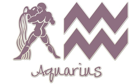 Aquarius Zodiac Signs - Purple Sticker Style