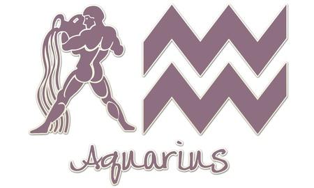 Aquarius Zodiac Signs - Purple Sticker Style Stock fotó - 12867799