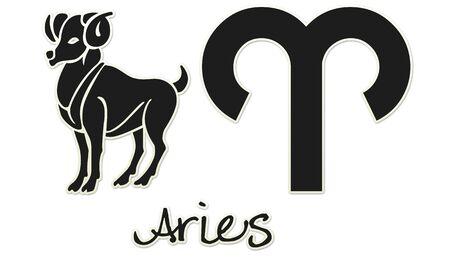 Aries Zodiac Signs - Black Sticker Style