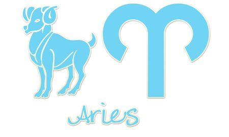 Aries Zodiac Signs - Blue Sticker Style