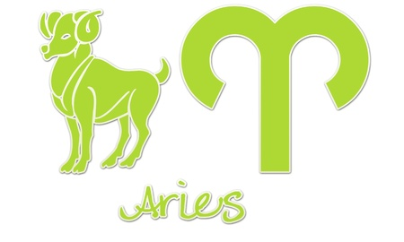 Aries Zodiac Signs - Lime Sticker Style photo