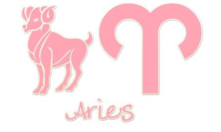 Aries Zodiac Styles - Pink Sticker Styles Stock Photo