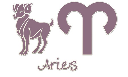 Aries Zodiac Signs - Purple Sticker Style Фото со стока
