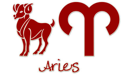 Aries Zodiac Signs - Red Sticker Style