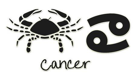 Cancer Zodiac Signs - Black Sticker Style Banco de Imagens