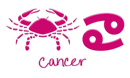 Cancer Zodiac Signs - Hot Pink Plastic Style Stock Photo