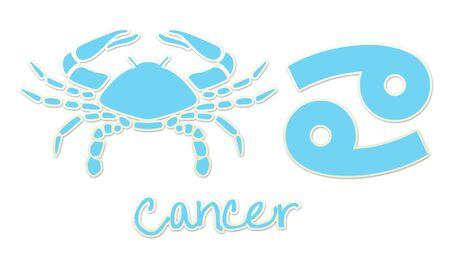 Cancer Zodiac Signs - Blue Sticker Style Banco de Imagens