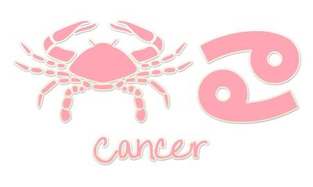 Cancer Zodiac Signs - Pink Sticker Style Banco de Imagens