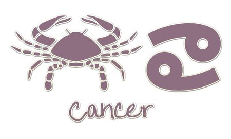 Cancer Zodiac Signs - Purple Sticker Style Фото со стока