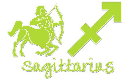 Sagittarius Zodiac Sign - Lime Green Sticker Style photo