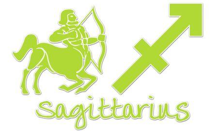 Sagittarius Zodiac Sign - Lime Green Sticker Style