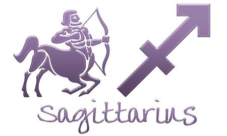 Signo del Zodiaco Sagitario - Estilo de plástico morado Foto de archivo - 12867797