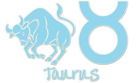 Tauro, signo del zodiaco - Estilo Luz Azul Etiqueta Foto de archivo - 12867739