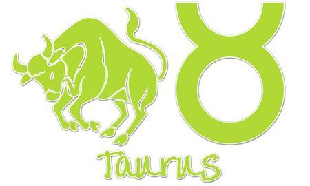 Taurus Zodiac Sign - Lime Green Sticker Style photo