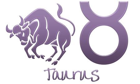 Tauro, signo del zodiaco - Estilo de plástico morado Foto de archivo - 12867782