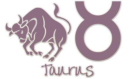 Taurus Zodiac Sign - Purple Sticker Style Stock Photo