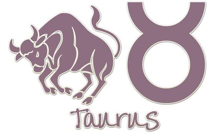 Taurus Zodiac Sign - Purple Sticker Style Фото со стока