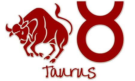 Taurus Zodiac Sign -  Red Sticker Style Banco de Imagens
