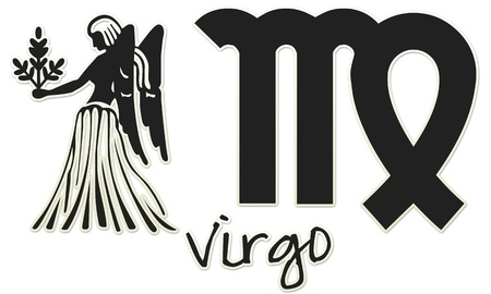 Virgo Zodiac Sign -  Black Sticker Style photo