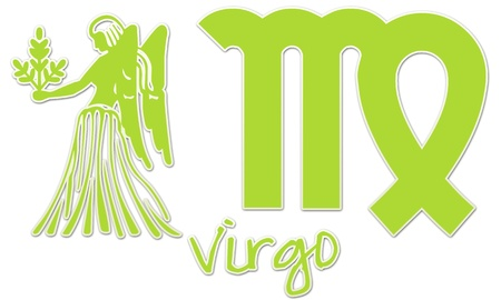 Virgo Zodiac Sign -  Lime Green Sticker Style Stock Photo - 12867806