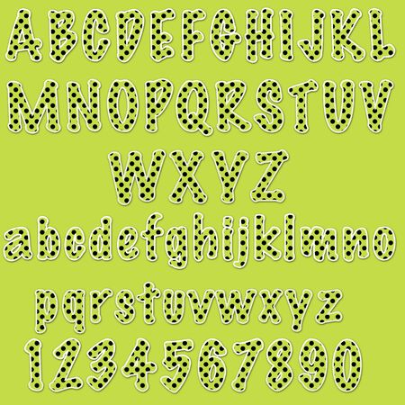 Lime Polkadot Numbers & Letters